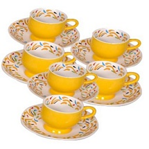 Yellow Ceramic Tea Cups and Saucers with Prints (Set of 12)