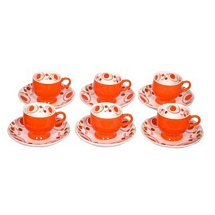 Orange Printed Ceramic Tea Cups n Saucers (Set of 12)