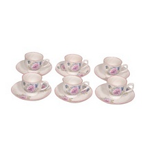 White Flowers Prints Tea Cups and Saucers (Set of 12)