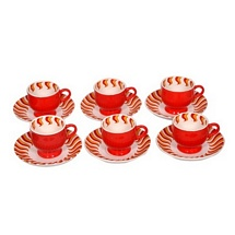 Red Printed Ceramic Tea Cups n Saucers (Set of 12)
