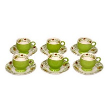 Green Printed Ceramic Tea Cups n Saucers (Set of 12)