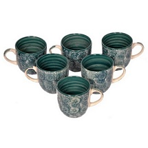 Olive Green Ceramic Tea Cups Set of 6