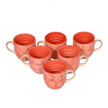 Red Ceramic Tea Cups Set of 6