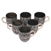 Bright Black Ceramic Tea Cups Set of 6