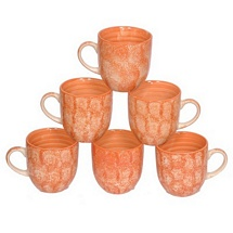 Orange Color Ceramic Tea Cups Set of 6