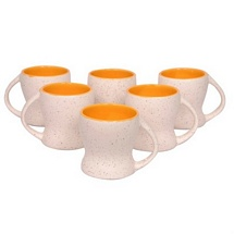 White n Yellow Ceramic Tea Cups Set of 6