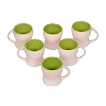 White n Green Ceramic Tea Cups Set of 6