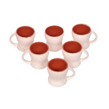 White n Maroon Ceramic Tea Cups Set of 6