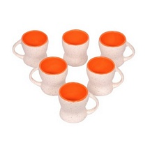 Set of 6 White n Orange Ceramic Tea Cups
