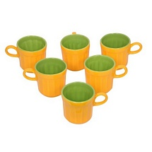 Yellow n Green Ceramic Tea Cups Set of 6