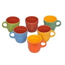 Set of 6 Multicolor Ceramic Tea Cups