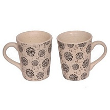 Set of 2 Black Floral Pattern White Ceramic Coffee or Tea Mugs