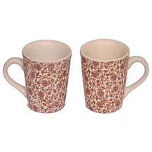 Set of 2 Floral Printed White Ceramic Coffee or Tea Mugs