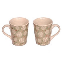 Floral Printed White Ceramic Coffee or Tea Mugs Set of 2