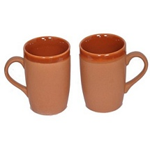 Chocolate Color Ceramic Coffee and Milk Mugs Set of 2