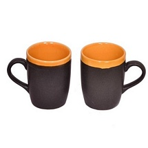 Set of 2 Duotone Black and Orange Ceramic Mugs