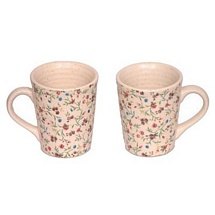 Set of 2 Boutique Pattern White Ceramic Mugs
