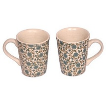 Stylish White Ceramic Mugs Set of 2 with Boutique Design
