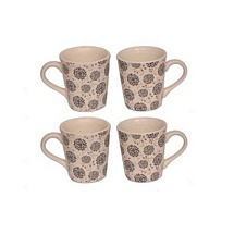 White Printed Ceramic Coffee N Milk Mugs Set of 4