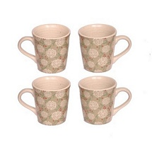 White Printed Ceramic Milk n Coffee Mugs Set of 4
