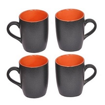 Black Duotone Orange Ceramic Coffee n Milk Mugs Set of 4