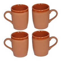 Brown Color Ceramic Coffee n Milk Mugs Set of 4