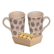 Set of 2 White Printed Coffee n Milk Mugs with Cookies Tray
