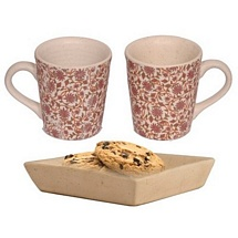Set of 2 White Printed Milk n Coffee Mugs with Cookies Tray