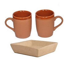 Set of 2 Brown Mugs with Cookies Tray