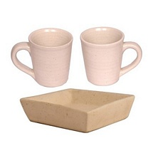 Set of 2 White Ceramic Coffee n Milk Mugs with Cookies Tray