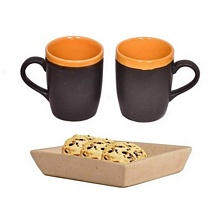 Set of 2 Black & Orange Coffee and Milk Mugs with Tray