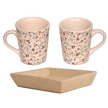 Set of 2 Printed White Coffee and Milk Mugs with Cookies Tray