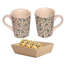 Set of 2 Printed White Milk and Coffee Mugs with Tray