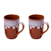 Set of 2 Brown Mugs for Coffee & Milk