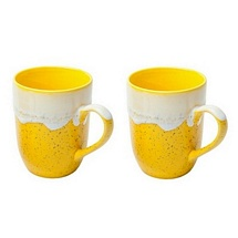 Set of 2 Yellow Mugs for Coffee & Milk