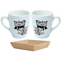Set of 2 Coffee-Milk Mugs  with Cookies Tray