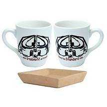 Set of 2 Milk-Coffee Mugs with Cookies Tray