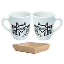 Set of 2 Lovely Milk-Coffee Mugs with Tray