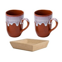 Set of 2 Coffee-Milk Mugs with Tray