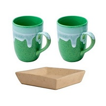 Milk-Coffee Mugs Set of 2 with Tray