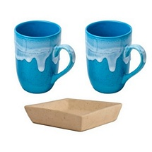 Lovely Set of 2 Mugs with Tray