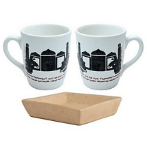 Set of 2 Taj Mahal Print Coffee-Milk Mugs with Tray