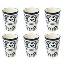 Set of 6 Stoneware White n Black Tumblers