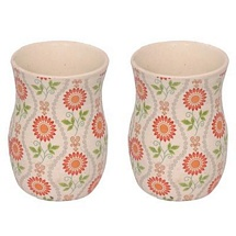 Set of 2 Floral Design Ceramic Tumblers