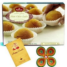 Haldiram's Motichur Laddu with 1 Diwali Card and 4 Diyas