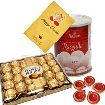 Choco n Rasgulla Combo with 1 Diwali Card and 5 Diyas