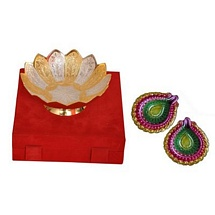 Diwali Gift - Golden & Silver Brass Bowl with 2 Colorful Diyas