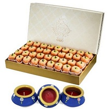 Kaju Apple Sweets 1kg with 3 Decorated Matki Diyas for Diwali