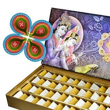 750g Kaju Kesar Katli with 4 Diyas for Diwali