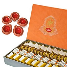 500 Mixed Diwali Sweets with 5 Diyas for Diwali 2015